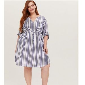 Torrid Blue and White stripe Shirt Dress